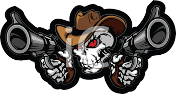 Royalty Free Clipart Image of a Cowboy Skull
