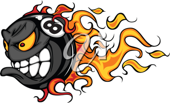 Royalty Free Clipart Image of a Flaming Eight Ball