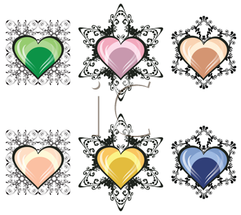 Royalty Free Clipart Image of Ornamental Hearts