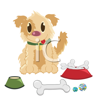 Royalty Free Clipart Image of a Dog With Bones and Toys