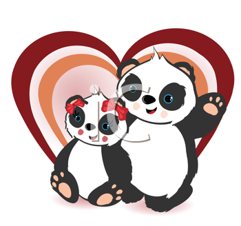 Royalty Free Clipart Image of Two Pandas and a Heart