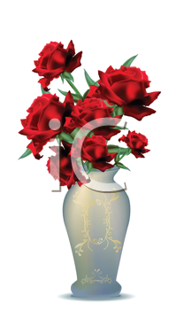 Royalty Free Clipart Image of a Vase of Roses