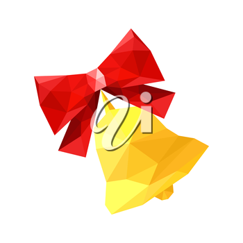 Illustration of red origami bow with bell isolated on white background