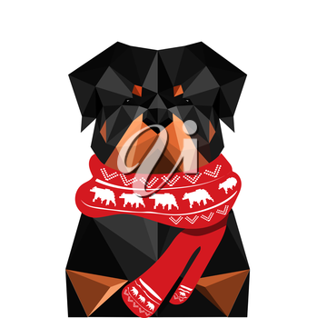 Illustration of origami rottweiler dog with christmas scarf isolated on white background