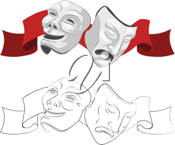 Royalty Free Clipart Image of Theatre Comedy and Tragedy Masks