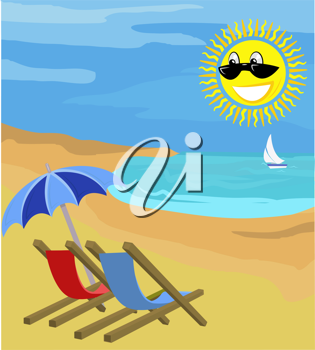 Royalty Free Clipart Image of Chairs on the Beach