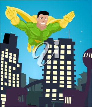Royalty Free Clipart Image of a Superhero Flying