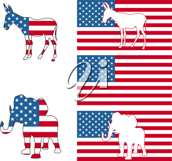 The democrat and republican symbols of a donkey and elephant and American flag.