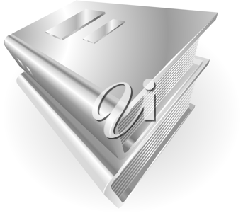 Royalty Free Clipart Image of Silver Metallic Books