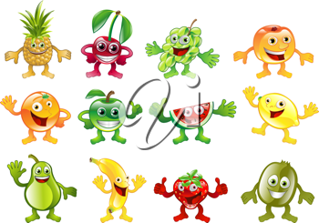 Royalty Free Clipart Image of Happy Fruit Characters
