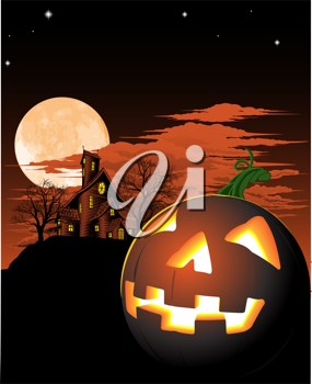 Royalty Free Clipart Image of a Haunted House and Pumpkin