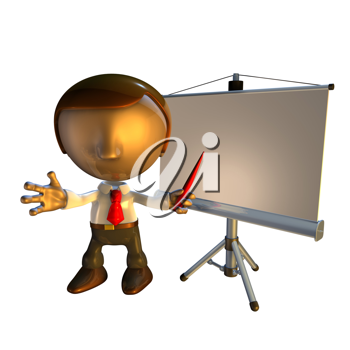 Royalty Free Clipart Image of a Man Giving a Presentation