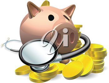 Financial health check concept. A piggy bank with coins and stethoscope wrapped round it.