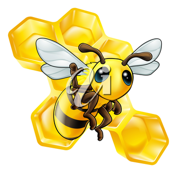 A cute cartoon waving bee with some honeycomb in the background