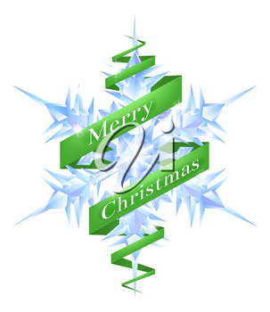 An illustration of a Christmas Snowflake with a green ribbon reading Merry Christmas wrapped around it