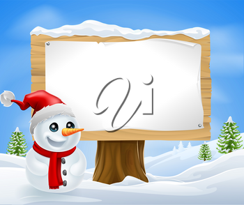 Cute Christmas Snowman and Sign in a winter landcape