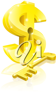 Conceptual illustration of a gold dollar sign and key. Concept for unlocking financial success or cash or for financial security.