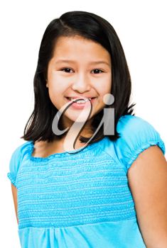 Close-up of a girl smiling isolated over white