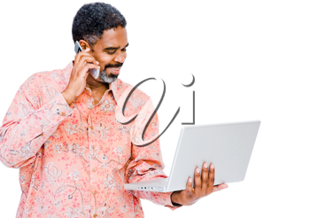 Man using a laptop and a mobile phone isolated over white