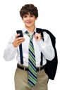 Happy boy text messaging on a mobile phone isolated over white
