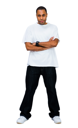 Mixedrace young man posing isolated over white
