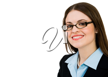 Smiling businesswoman wearing eyeglasses isolated over white