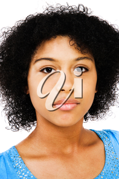 Mixed race teenage girl thinking and posing isolated over white