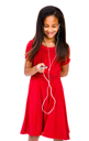 Happy girl listening to music on a MP3 player isolated over white
