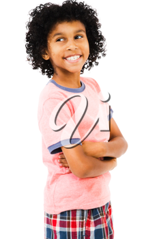 Boy standing with her arms crossed isolated over white
