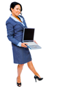 Confident businesswoman holding a laptop and smiling isolated over white