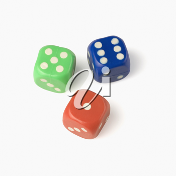 Close-up of three dices