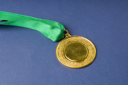 Close-up of a gold medal