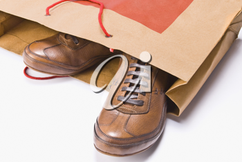 Close-up of a pair of shoes in a shopping bag