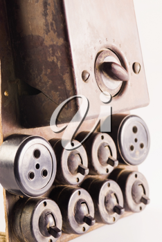 Close-up of old lightswitches and sockets