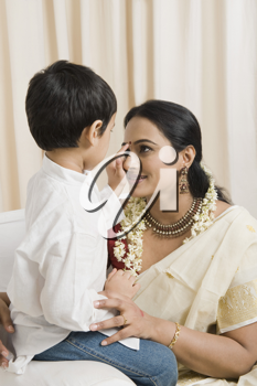 Woman loving with her son at home