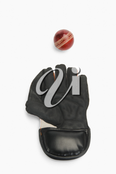 Close-up of a cricket ball and a wicket keeping glove