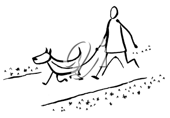 Royalty Free Clipart Image of a Man Walking a Dog