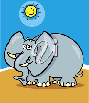 Royalty Free Clipart Image of an Elephant and a Smiling Sun