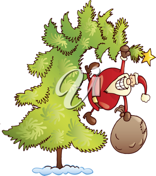 Royalty Free Clipart Image of a Santa Hanging From a Christmas Tree