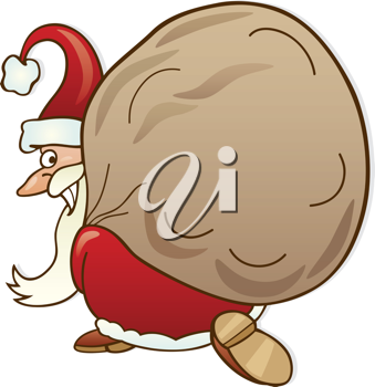 Royalty Free Clipart Image of Santa With a Sack of Toys