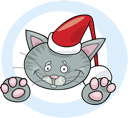 Royalty Free Clipart Image of a Cat in a Santa Hat