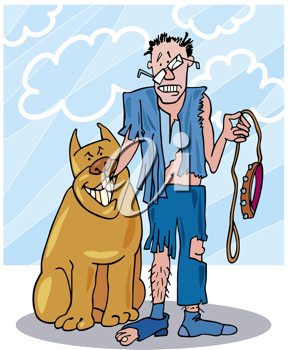 Royalty Free Clipart Image of a Man in Tattered Clothes Holding a Leash and Standing Beside a Smiling Dog