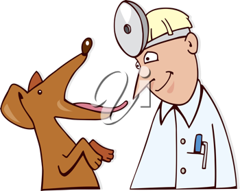 Royalty Free Clipart Image of a Dog at the Vet