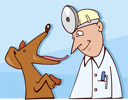 Royalty Free Clipart Image of a Vet With a Dog
