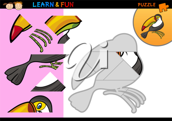 Cartoon Illustration of Education Puzzle Game for Preschool Children with Funny Toucan