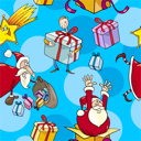 Seamless Pattern Cartoon Illustration of Santa Clauses and other Christmas Themes for Wrapper or Paper Pack and Design