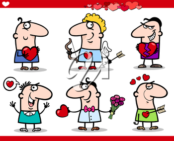 Cartoon Illustration of Happy Men Valentines Day or Love Themes with Heart, Valentine Cards, Cupid with Bow and Arrow
