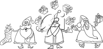 Black and White Cartoon Illustration of Santa Claus Characters Group with Christmas Presents or Gifts for Coloring Book