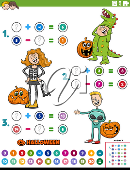Cartoon illustration of educational mathematical addition and subtraction puzzle task with kids characters on Halloween time