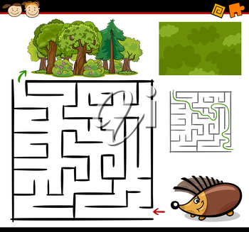 Royalty Free Clipart Image of a Hedgehog at a Maze